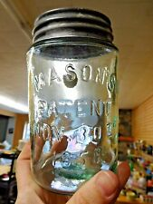 Antique 1858 MASON'S Embossed Apple Green Glass Canning Jar (AB1206)