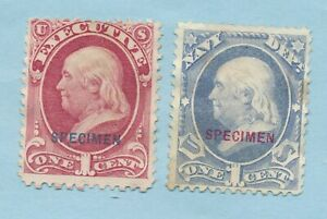 """USA TWO 1c OFFICIAL STAMP s OVERPRINTED """"SPECIMEN"""" SCOTT #'s 010S ave  035S f-vf"""