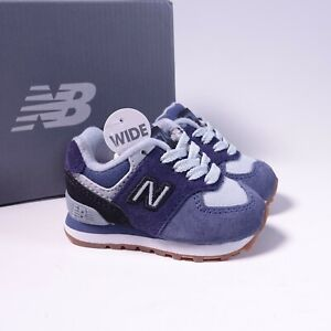 Size 2 WIDE Toddler/Infant Kid's New Balance 574 Sneakers IC574MLA Pigment/Black