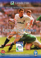 ENGLAND v FRANCE RUGBY PROGRAMMES 1989 to 1993 & 1995 to 1999 GOOD+ CONDITION