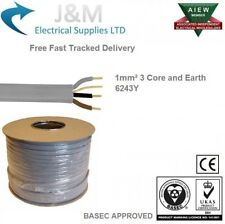 1mm 3 Core & Earth Electrical Cable 100M Metres Lighting Smoke Alarm 6243Y