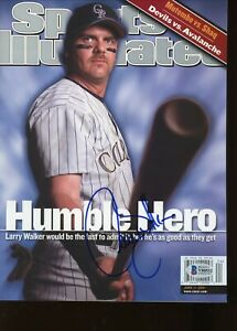 Larry Walker No Label Signed Autographed Sports Illustrated Magazine BAS Beckett
