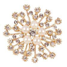 Pearl Rhinestone Cristal Rétro Fleur Plaqué Or Broches Pin Broche cristal clair