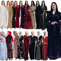 Dubai Abaya Kimono Jilbab Open Cardigan Muslim Women Dress Maxi Robe Kaftan Gown