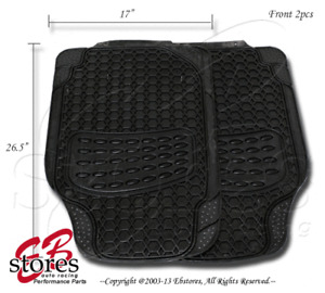 Front and Rear 4pc Heavy Duty Rubber Floor Mat Style#B104 for Small Size Vehicle