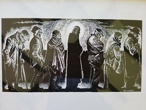 VTG FRITZ EICHENBERG - CHRIST OF THE BREADLINES Wood Block ART Engraving 1950