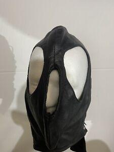 black leather hood mask