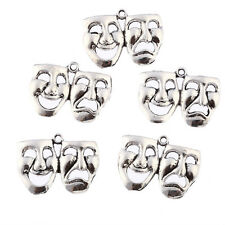 10pcs mask theatre comedy tragedy art Tibetan Silver Bead charms Pendants