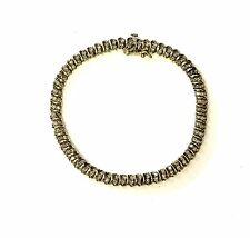 10k yellow gold 2.2ct S-link diamond tennis bracelet 12g estate vintage antique