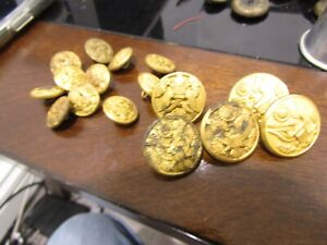 WW1 , MILITARY,5 COAT BUTTONS ,11 CUFF BUTTONS GOLD WASHED,WATERBURY