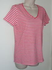 """Basic Editions Red & White Striped Short Sleeve Top S/C Bust 34"""" Length 25"""" NWT"""