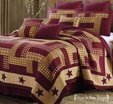 Homestead Red Barn Star King Quilt Set : Primitive Farmhouse Burgundy Patchwork