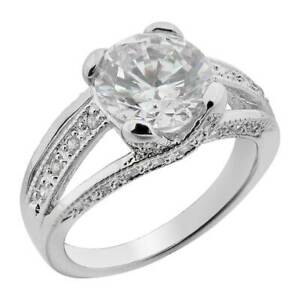 Women's Wedding Band Round CZ White Gold Plated Bride's Engagement Promise Ring
