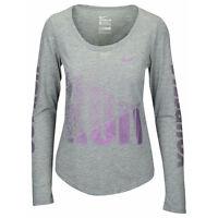 Nike Womens Dri-Fit Out Run Yourself Long Sleeve Running Shirt Grey New