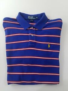 Ralph Lauren Polo Shirt Size XL Blue Yellow Pony Striped Short Sleeve