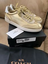 NWT NEW IN BOX COACH C113 GOLD SILVER LEATHER LOW TOP  SNEAKERS SIZE 6