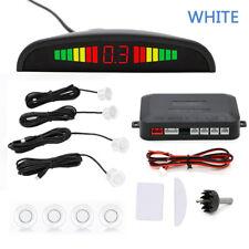 White Car Auto Reverse Parking Sensor System 4 Sensors+LED Display+Buzzer Alarm