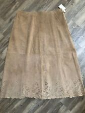 NEW Coldwater Creek Old Rose Leather Maxi Laser Cut Design Scallop  A-Line 20W