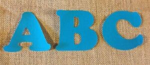 Bright Blue Iron On Letters -LIMITED NUMBER OF LETTERS LEFT- FABRIC DISCONTINUED