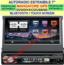 "AUTORADIO ESTRAIBILE 7"" GPS NAVIGATORE DVD MP3 MP4 USB SD BLUETOOTH 1 DIN"