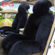 2pc Australian Sheepskin Fur Car Front Seat Cover Winter Warm Seat Cover Cushion