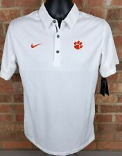 Nike Mens Clemson Tigers White College Football  Dri-Fit Polo Shirt Sz Small NEW