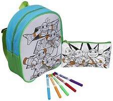 2PC TURTLES HALF SHELL HEROES COLOUR YOUR OWN BACKPACK SCHOOL KIDS FUN CREATIVE