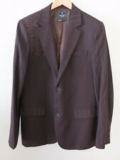 Mens MARC ECKO Brown Cut & Sew Blazer Embroidered Pinstripe Cotton Jacket Large
