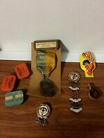 Mens Junk Drawer Lot WW 1 Medal Clicker Aspirin Tin Flint Tin Methodist Medals C