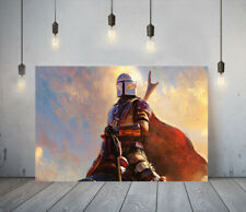 THE MANDALORIAN 5-DEEP FRAMED CANVAS WALL ART PICTURE PAPER PRINT- RED SILVER