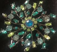 Vintage Costume Jewellery Large Blue And Green Crystal Silver Tone Brooch