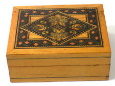 Small Antique Sorrento Ware Wood Box Floral Border Intricate Design