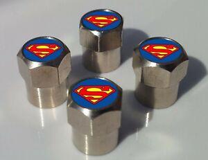SUPERMAN LOGO SUPERHERO TYRE VALVE CAPS FOR TIRE WHEEL