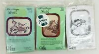 LOT OF 3 NEW, Old Stock Cathy NeedleCraft Crewel Embroidery Kits