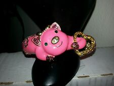 Kenneth J. Lane Look A Like Gorgeous Pink Enamel Piggy Bracelet Crystals Heart