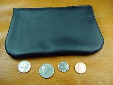 Black Cowhide LEATHER Coinpurse pouch Wallet USA handcrafted disabled vet 5030