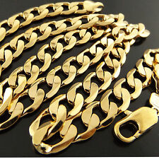 Men's Yellow Gold Necklace Chain 18k Filled Solid Heavy Cuban Curb Link 50cm 20""