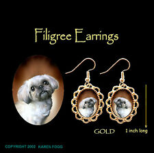Lhasa Apso / Shih Tzu Dog - Gold Filigree Earrings Jewelry