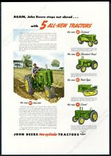 1950 John Deere model Mt Ao Ar Mc R farm tractor color photo vintage print ad
