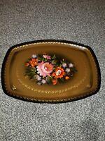 Vintage Russian Enamel Painted Floral Metal Serving Dresser Boho Tray OTH No 8
