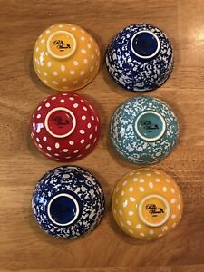 The Pioneer Woman Retro Dot, Cobalt, Yellow, Teal Condiment Dip Bowls Set of 6