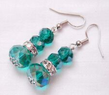 Handmade crystal earrings silver plated turquoise crystals free stoppers
