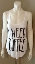 """JUNK FOOD CLOTHING """"I NEED COFFEE"""" TANK TOP NEW WITHOUT TAGS SIZE XSMALL"""
