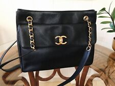 Chanel Oversize Front Pocket Caviar Tote Bag 24k Gold Vintage