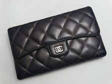 US SELLER Authentic CHANEL LONG WALLET DARK BROWN QUILTED LEATHER MATELASSE