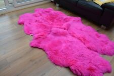 Pink quad  sheepskin rug genuine amazing soft wool