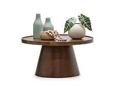 Walnut Round Tray Coffee Table in Oak Wood Veneer with Pedestal Base