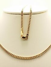 18k Solid Rose Gold Italian Flat Curb Link Necklace/ Chain 4.96 Grams