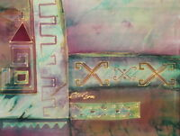 2000 BATIK/SILK PAINTING ABSTRACT COMPOSITION SIGNED