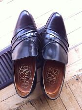 Vintage David Scott Black High Shine Leather Slip on English shoes heels UK 8.5